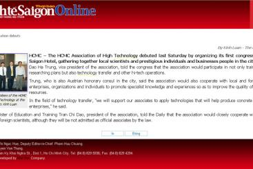 CONGRESS OF ESTABLISHMENT OF HIGH TECHNOLOGY ASSOCIATION - THE SAIGON TIMES DAILY ONLINE